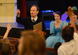 Scott McLeod and his students discuss vocal technique as they prepare for a presentation of Hansel and Gretel.