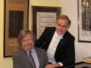 Stroope (R) and composer Morten Lauridsen, who was recent a guest artist working with the school's Concert Chorale.