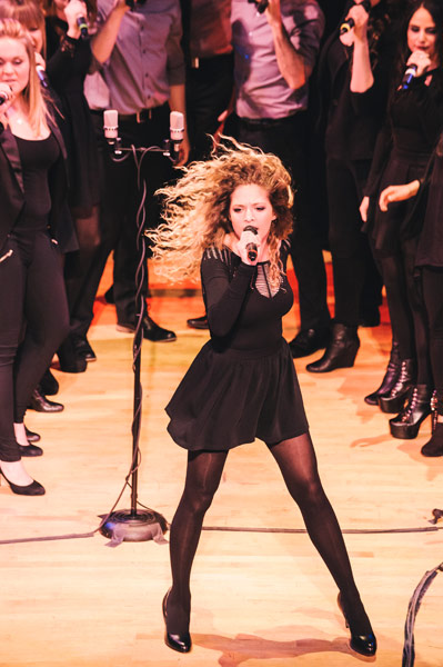 Soloist Emily Shanny of the Nor'easters helped Northeastern University's mixed a cappella ensemble win the 2013 ICCA Finals. Photo by Joe Martinez Photography.